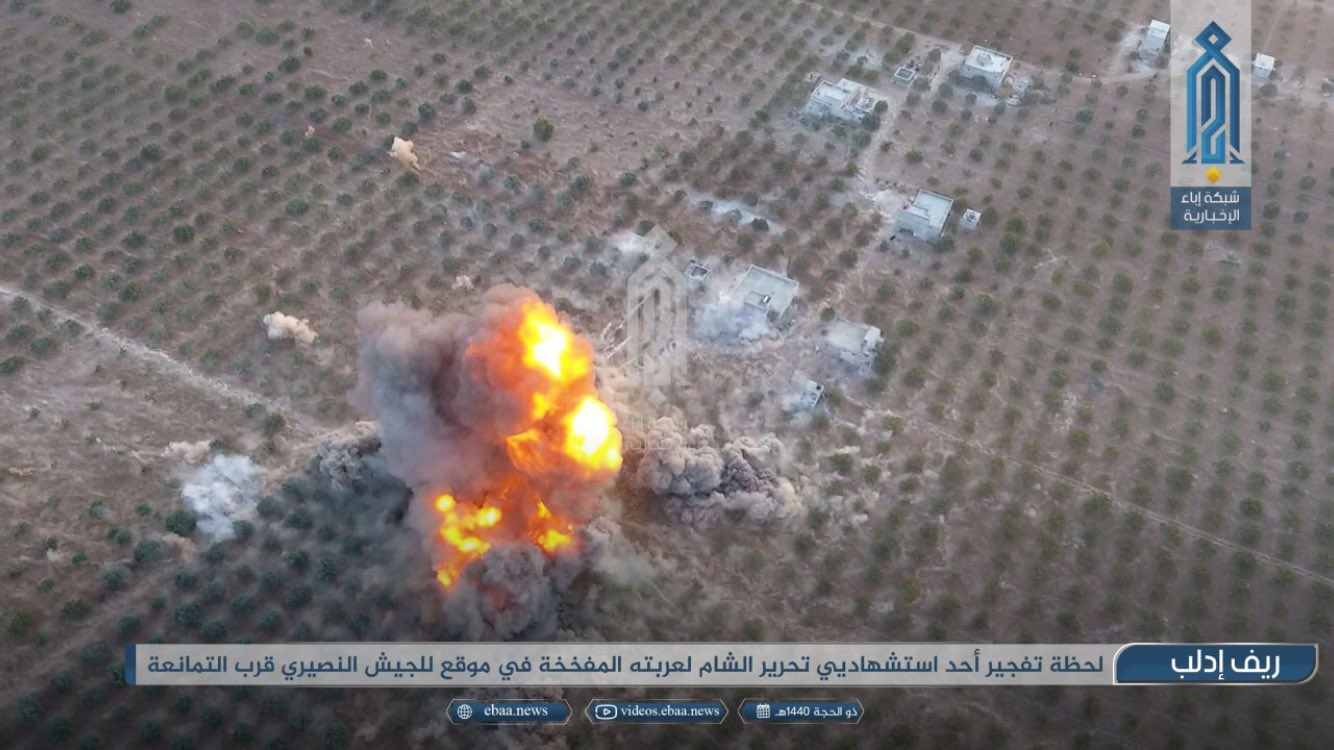 An HTS up-armored SVBIED used against a loyalist position in the farmland close to al-Tamanah on Aug. 29, 2019.