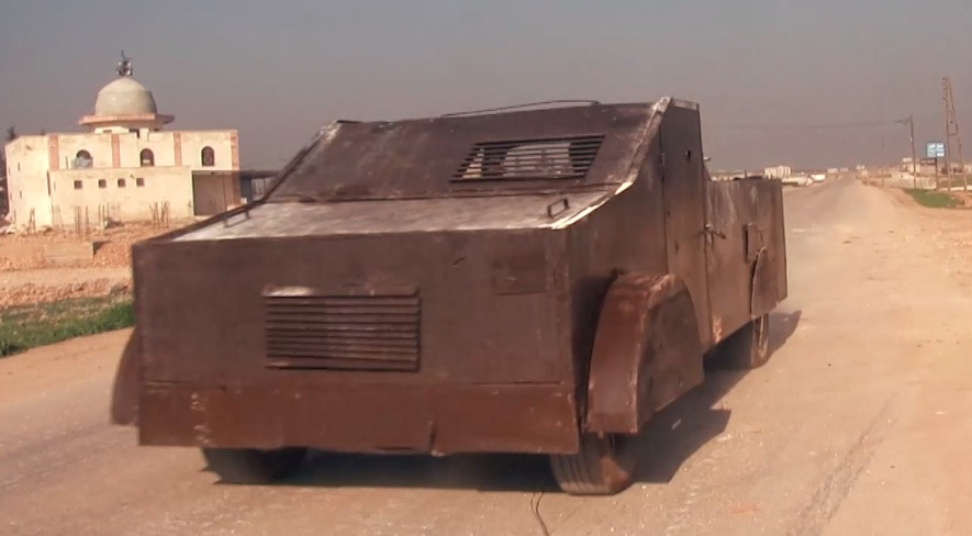 An up-armored SVBIED based on a pick-up truck used by HTS against a Syrian loyalist position near Soruj in southeast Idlib Province on Jan. 20, 2018.
