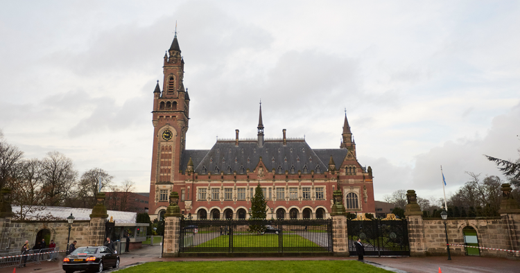 A general view of the Peace Palace is seen as Myanmar State Counsellor Aung San Suu Kyi leads its delegation to the International Court of Justice to defend the national interests of Myanmar during Gambia's genocide case against Myanmar on December 11, 2019 in The Hague, Netherlands.