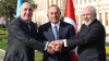 Turkish Foreign Affairs Minister Mevlut Cavusoglu (C), Minister of Foreign Affairs of Iran, Javad Zarif (R) and Azerbaijani Minister of Foreign Affairs, Elmar Mammadyarov (L) pose for a photo prior the tripartite meeting of foreign ministers of Turkey, Azerbaijan and Iran in Istanbul, Turkey on October 30, 2018.